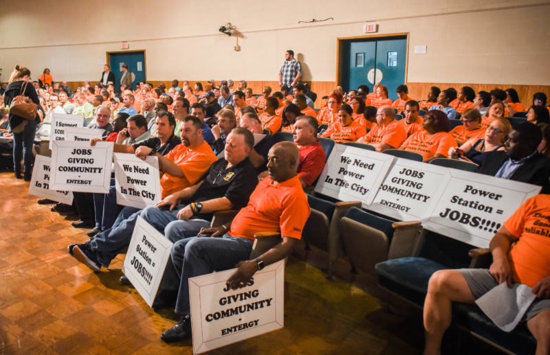 Entergy supporters in orange shirts (Michael Stein   The Lens)